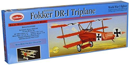 Guillow's Fokker DR1 Triplane Laser Cut Model (German Wood)