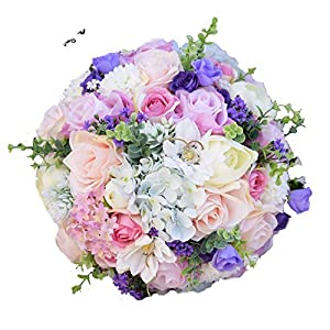 Jifnhtrs Silk Wedding Flowers Garden Bouquet Home Decor Flowers Bridesmaid Bouquets Roses Hydrangea Bridal Bouquet 3 Sizes,Size M 3PCs Set 31