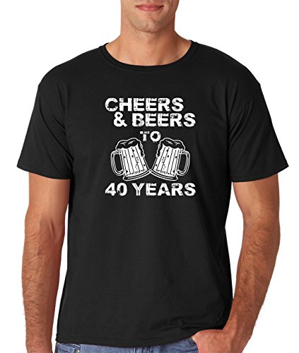 AW Fashions Cheers & Beers To 40 Years - 40th Birthday Present Premium Men's T-Shirt (Large, Black)
