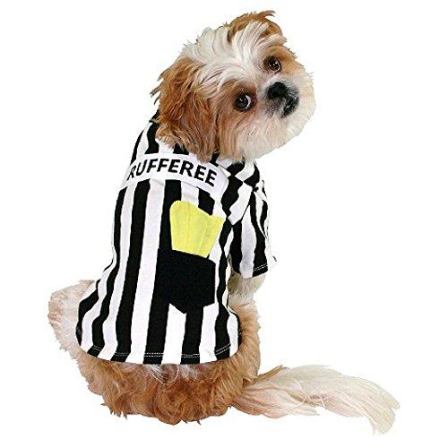 Rufferee Dog Costume Striped Referee Pet Tee Halloween T-Shirt (Referee Costumes For Halloween)