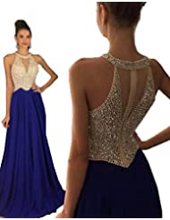 Fanciest Women's Crystal Beaded Prom Dresses 2017 Long Evening Gowns Formal
