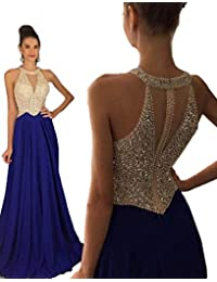 Fanciest Women's Crystal Beaded Prom Dresses 2016 Long Evening Gowns Formal