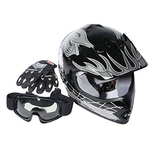 - XFMT Motocross Offroad Street Dirt Bike Youth Kids Helmet Goggles Gloves ATV Mx Helmet Black Skull M
