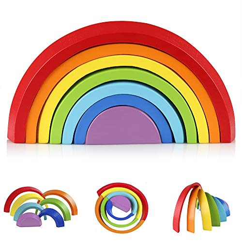 Coogam Wooden Rainbow Stacker Nesting Puzzle Blocks