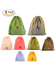 Bonaweite Drawstring Bags Waterproof PE Plastic Folding Packing Reusable Set of 8 Color