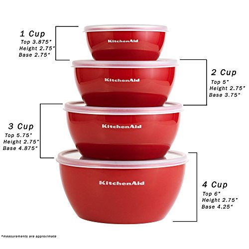 KitchenAid Prep Bowls with Lids, Set of 4, Red by KitchenAid (Image #4)