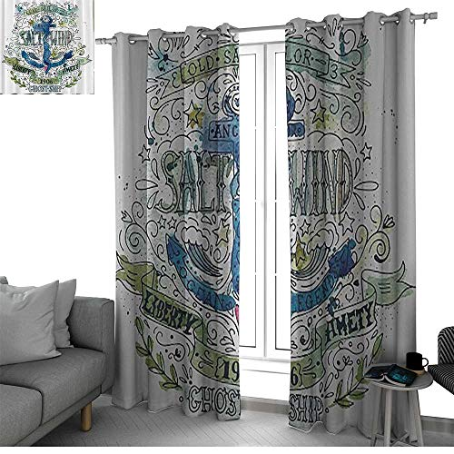 Nautical Seaside West Indies Thermal Insulated Grommet Blackout Curtains Anchor Salt & Wind 1906 Liberty Amity Ghost Ship Old Sailor Stormy Ocean Legend Vintage short curtain Navy Green White ()