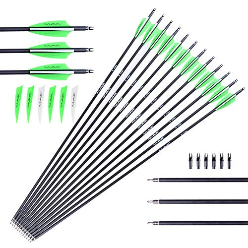"M.A.K Carbon Arrows 28-inch 0.236 inch Diameter Outdoor Target Practice Archery Hunting Arrows with Adjustable Nocks for Compound & Recuve Bow (30"" Carbon Arrows green and white feather arrow (Pack of 12))"