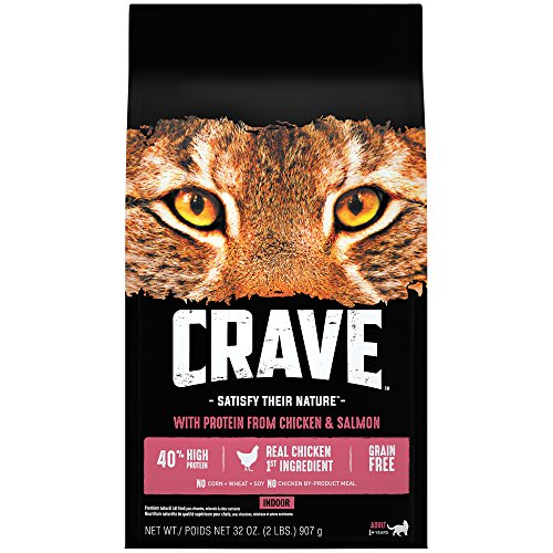 Crave Indoor Grain Free Dry Cat Food with Protein From ChickenandSalmon Give Your Feline The Power of Protein with Cat Food