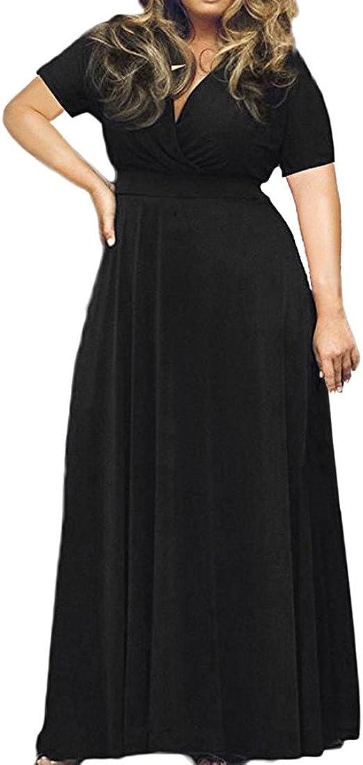 Plus Size Womens Floral Sundress Deep V-neck Evening Cocktail Party A-Line Dress