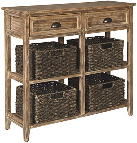 Ashley Furniture Signature Design - Oslember Storage Accent Table - Includes 4 Brown Removable Baskets - Antique Brown Finish ()