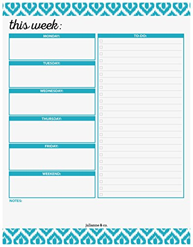 Weekly Planner Pad by Julianne & Co - Premium Weekday & Weekend Task Organizer, Undated Appointment & to-Do Tear-Away Notepad, Organize & Plan Chores & Meetings - 8.5