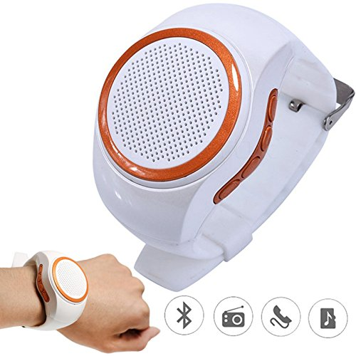 TopePop Wireless Bluetooth Speaker Watch Portable Mini Sport Outdoor Wearable Speaker With Mic Support Handsfree TF Crad MP3 Player FM Radio Selfie Anti-lost White by TopePop