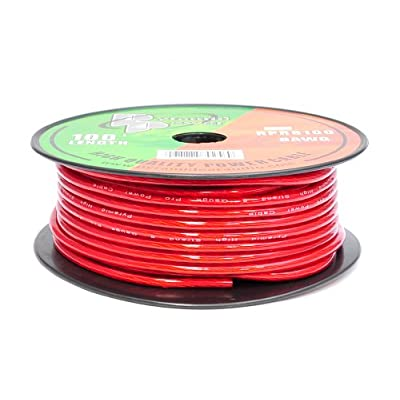 Pyramid RPR8100 8 Gauge Power Wire 100 feet OFC (Clear Red): Car Electronics