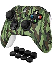 TNP Controller Cover Skin Case with Thumb Grips (Green) Fit for Xbox Series X S & X-Box One XS Gamepad - Soft Studded Anti-Slip Silicone Rubber Gel Stick Cap Control Accessories Video Game Gaming