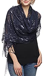 Navy Mesh With Sequin Metallic Shawl with Fringe
