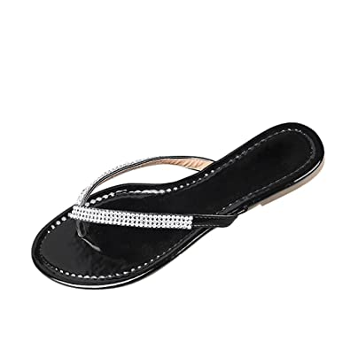 a5b42d0fe Dear Time Flip Flop Bling Rhinestones Summer Women Flat Thong Sandals Black  US 7  Amazon.ca  Shoes   Handbags