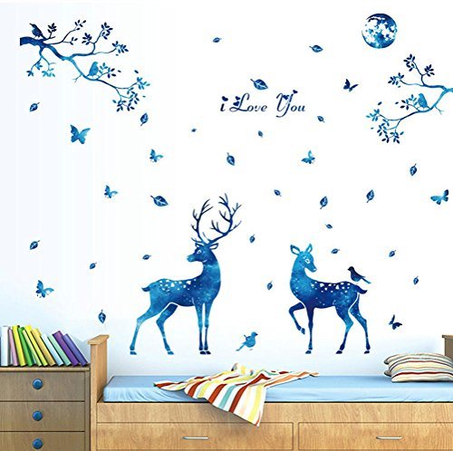 """BIBITIME Blue Moonlight Elk Deer Wall Decal Leaves Tree Branch Birds Butterfly Vinyl Stickers i love you Quotes Signs Christmas Home Art Mural DIY 61.41"""" x 56.69"""""""