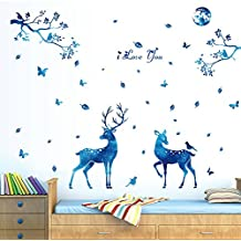 "BIBITIME Blue Moonlight Elk Deer Wall Decal Leaves Tree Branch Birds Butterfly Vinyl Stickers i love you Quotes Signs Christmas Home Art Mural DIY 61.41"" x 56.69"""