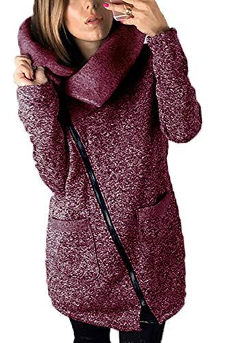 Manteau Femme Printemps Automne Longues Coat Elgante Manches Longues Fashion Unicolore Col Roul avec Poches breal Slim Fit Outerwear Vtements D'Extrieur Purple
