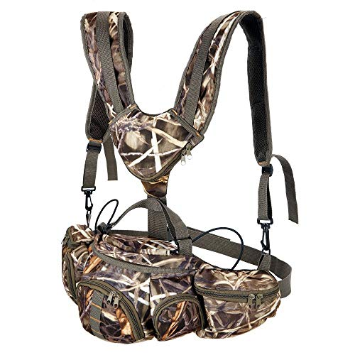 UNISTRENGH Hunting Camo Fanny Pack with Harness Waist Pack Pouch with Shoulder Straps for Climbing Hiking Camping Running Travelling (Camouflage001)