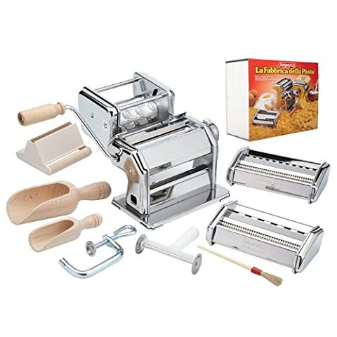 CucinaPro Imperia iPasta Deluxe 11pc Pasta Making Factory Gift Set - Includes Machine, attachments, recipes, and accessories