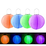 LOHOME Pack of 4 SolarLED Pumpkins Lantern Hanging Lamp Paper Lanterns Light Decoration Party Bar Decoration Lawn Garden Tree Decorations (Blue+Green+Orange+Purple)