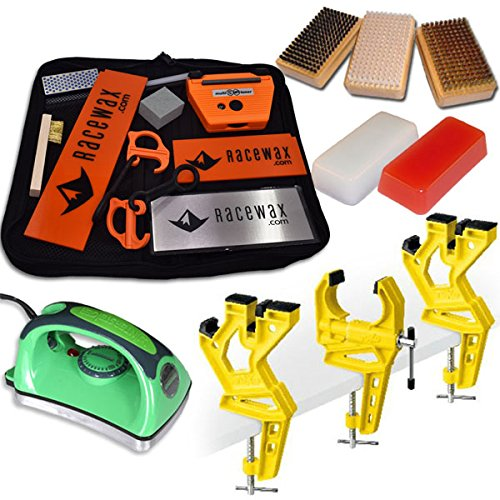 Super Ski Tune Race Kit with 3 Piece Vise, Iron, 3 Brushes Tools Wax by RaceWax