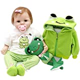 Realistic Baby Doll, Travel Frog Gift Set Ensemble, 22-inch Weighted Baby with Clothes