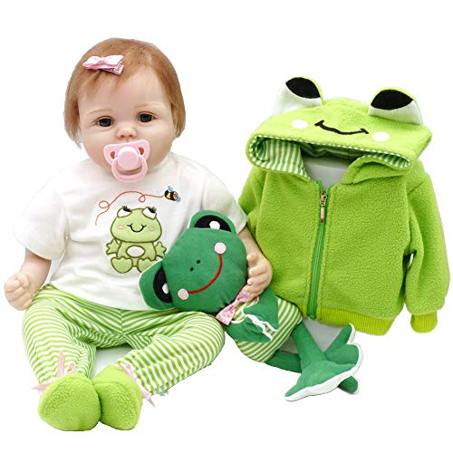 (Aori Lifelike Reborn Baby Doll with Soft Body Realistic Vinyl 22 Inch Toy Doll with Travel Frog Gift Set)