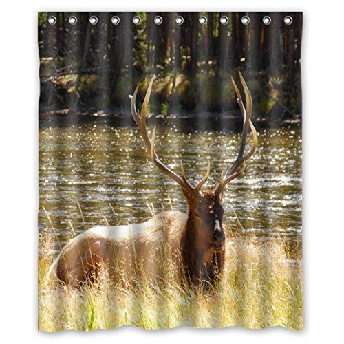 Delightful Style Animal World Wildlife Run Freely The Elk Herds In The Moose Waterproof Fabric Bath Shower Curtain 60' x 72'