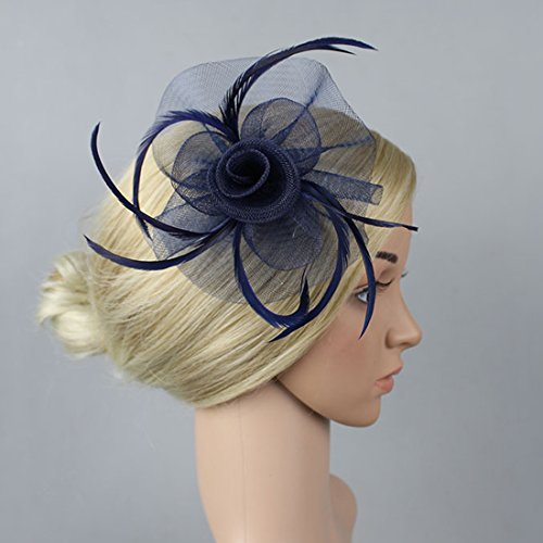 Free Yoka Womens Fascinators Feather Pillbox Hat Cute Beads for Cocktail Kentucky Derby Ball Wedding Church Party (Navy) by Free Yoka (Image #1)