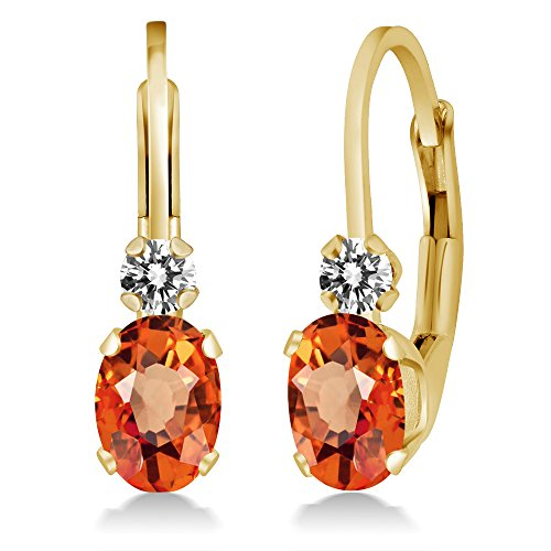 1.17 Ct Oval Orange Sapphire White Diamond 14K Yellow Gold (Diamond Orange Sapphire Gold Jewelry)