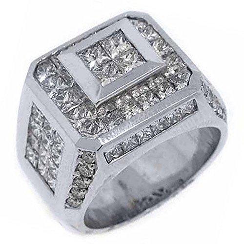 (18k White Gold Mens Invisible Princess Cut Diamond Ring 5.62 Carats)