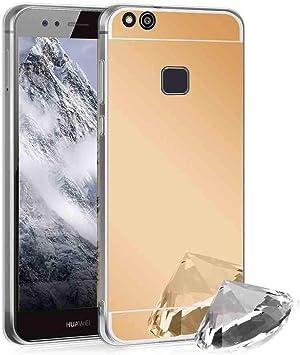 XCYYOO Funda Espejo para Huawei P10 Lite, Protectora Movil Carcasa TPU Silicona Ultra-Fina Bumper Mirror Case, Goma Cubierta Cobertura Delgado Cover para Huawei P10 Lite(Dorado): Amazon.es: Electrónica