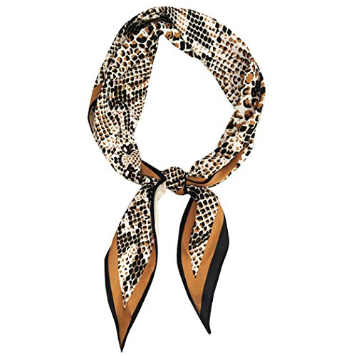 GERINLY Chic Snake Skin Neckerchief Women Spring Rhombus Hair Wrap Bag Handle Acessory(Snake - Scarf Ladies Tie