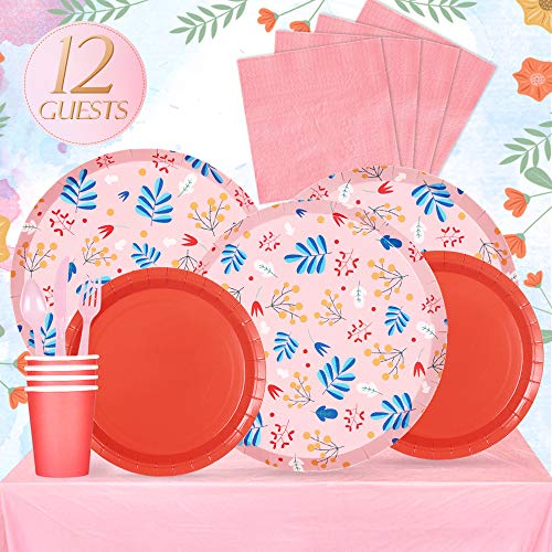 (Partybus Party Supplies Set - Serves 12, 93 Ct, Floral Graden Theme Party Disposable Tableware Kit for Boys Girls Kids Birthday Decorations, Includes Dinner Plates, Dessert Plates, Napkins, Cups, Table Cloth, Silverware)