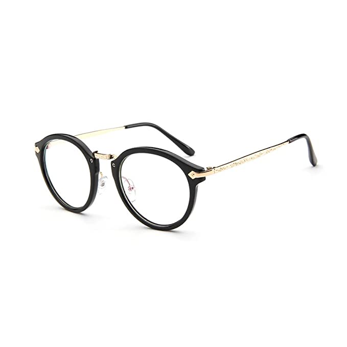 cd3453b14bc14 LOMOL Girls Retro Cute Personality College Style Radiation Protection Transparent  Lens Frame Glasses(C1)