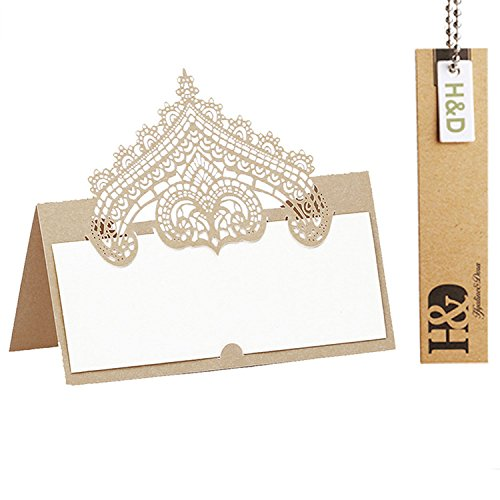 60pcs Wedding Table Name Place Cards Personalised Reception Decoration with Chanmpagne Lace Crown Pattern Cardstock for Wedding ()