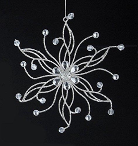 "UPC 093422652254, 7.5"" Sparkling Whites Snowflake with Floral Gem Center Christmas Ornament"