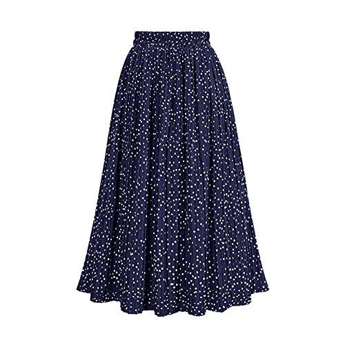 Las Oudan Elegante Alta Midi Plisada Cintura Dots Para Línea Falda Azul Una Estampada Polk Mujeres De rwWrE7Svq