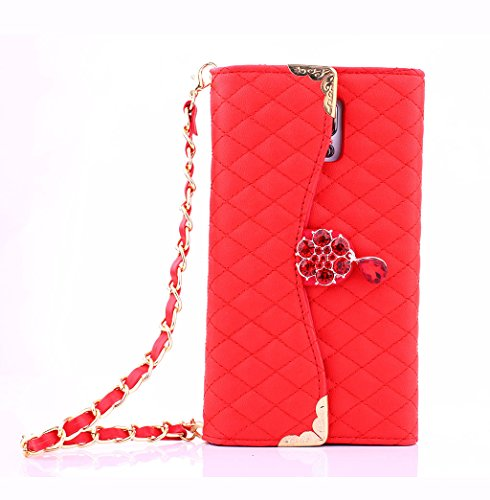 For Samsung Galaxy Note 4 Luxury Bling Diamond PU Leather Flip Wallet Card Holder Handbag Case Cover For Samsung Galaxy Note 4 (Red) (Note Case 4 Red Bling)