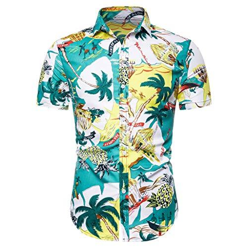 Shirt Short Sleeve Button Down Comfort Summer Basic T Shirt Blouse Fit Slim Printed Top Men (M,7- Yellow)]()