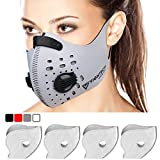 Dust Mask with 4 N99 Activated Carbon Filters and 4 Air Valves. Activated Carbon Dust Mask for Breathing Clean Air by FIGHTECH (WHITE)