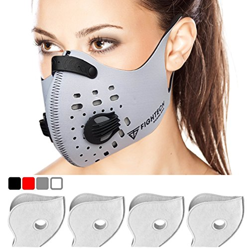 Dust Mask with 4 N99 Activated Carbon Filters and 4 Air Valves. Activated Carbon Dust Mask for Breathing Clean Air by FIGHTECH (WHITE) ()