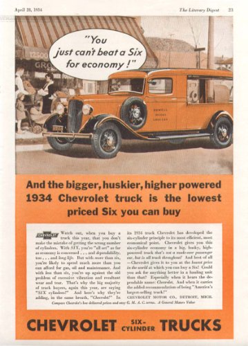 You just can't beat a six for economy Chevrolet Canopy Express Truck ad 1934 ()