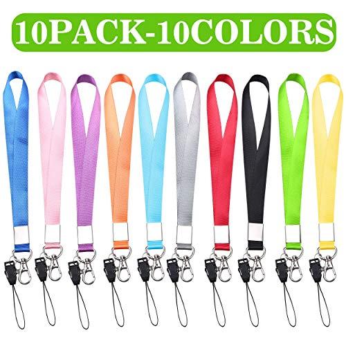 "Wrist Lanyard, Kaptron (10 Pack) 8"" Long Bracelet Wrist Strap Hand Grip Lanyard for USB Flashdrive Stick Thumb Drive, Keys Keychain, ID Badge Holder, Name Tag, Cellphone for Men Women (Multicolor)"
