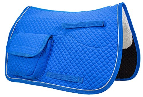 Derby Originals Horse English All Purpose Quilted Saddle Pads with Pockets (Brilliant Blue) ()