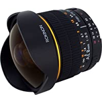 Rokinon 8mm Ultra Wide F/3.5 Fisheye Lens with Auto Aperture and Auto Exposure Chip for Nikon AE8M-N