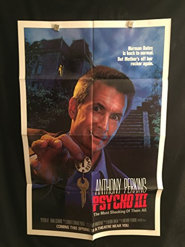 Psycho 3 1985 Original Vintage One Sheet Movie Poster, Horror, Cult, Anthony Perkins, Norman Bates, Bates Hotel
